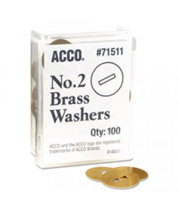 Washers For Two-Piece Paper Fasteners, 1/2 Cap, 1 1/4 Diameter, Gold, 100/box