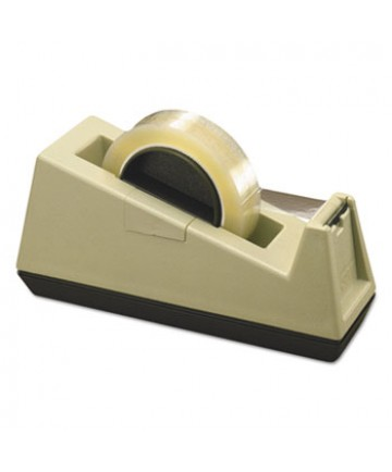 """Heavy-Duty Weighted Desktop Tape Dispenser, 3"""" Core, Plastic, Putty/Brown"""