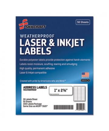7530-01-673-6516 SKILCRAFT Weatherproof Mailing Labels, Laser, 50 Labels