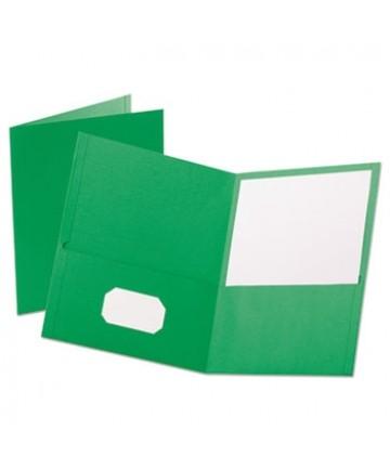 "Leatherette Two Pocket Portfolio, 8 1/2"" x 11"", Green, 10/PK"