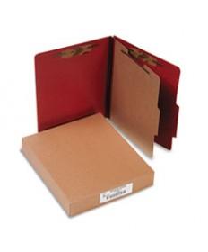 20 PT. PRESSTEX CLASSIFICATION FOLDERS, 1 DIVIDER, LETTER SIZE, RED, 10/BOX
