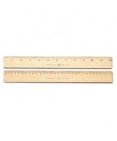 Flat Wood Ruler W/two Double Brass Edges, 12, Clear Lacquer Finish