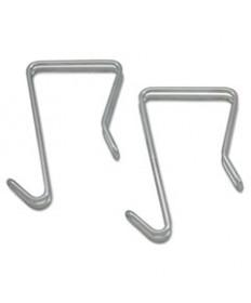 Single Sided Partition Garment Hook, Silver, Steel, 2/pk