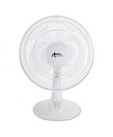 12 3-Speed Oscillating Desk Fan, Plastic, White