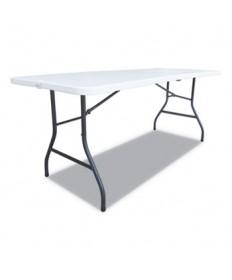Fold-in-Half Resin Folding Table, 60w x 30d x 29h, White