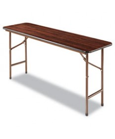 Wood Folding Table, Rectangular, 60w X 18d X 29h, Mahogany