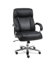 Alera Maxxis Series Big And Tall Leather Chair, Black/chrome
