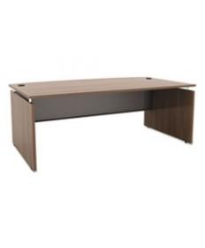 Alera Sedina Series Bow Front Desk Shell, 72w X 42d X 29 1/2h, Modern Walnut