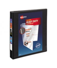 "HEAVY-DUTY NON STICK VIEW BINDER WITH DURAHINGE AND SLANT RINGS, 3 RINGS, 1"" CAPACITY, 11 X 8.5, BLACK, (5300)"