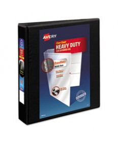 """HEAVY-DUTY NON STICK VIEW BINDER WITH DURAHINGE AND SLANT RINGS, 3 RINGS, 1.5"""" CAPACITY, 11 X 8.5, BLACK, (5400)"""