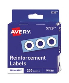 Dispenser Pack Hole Reinforcements, 1/4 Dia, White, 200/pack