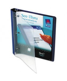 """SEE-THRU VIEW BINDER WITH ROUND RINGS, 3 RINGS, 0.5"""" CAPACITY, 11 X 8.5, BLUE"""