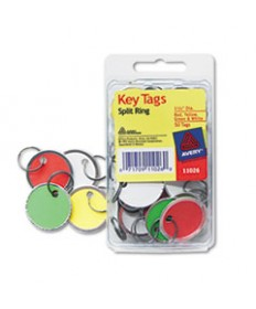 Key Tags With Split Ring, 1 1/4 Dia, Assorted Colors, 50/pack