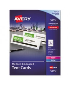 Medium Embossed Tent Cards, White, 2 1/2 X 8 1/2, 2 Cards/sheet, 100/box