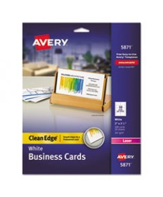 Clean Edge Business Cards, Laser, 2 X 3 1/2, White, 200/pack