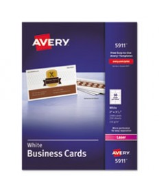 PRINTABLE MICROPERFORATED BUSINESS CARDS WITH SURE FEED TECHNOLOGY, LASER, 2 X 3.5, WHITE, UNCOATED, 2500/BOX