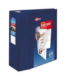 """HEAVY-DUTY VIEW BINDER WITH DURAHINGE AND LOCKING ONE TOUCH EZD RINGS, 3 RINGS, 5"""" CAPACITY, 11 X 8.5, NAVY BLUE"""