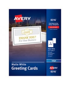 Half-Fold Greeting Cards, Inkjet, 5 1/2 X 8 1/2, Matte White, 30/box W/envelopes