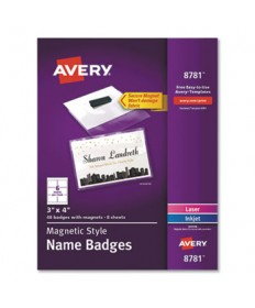 "Magnetic Style Name Badge Kit, Horizontal, 4"" x 3"", White, 48/Pack"