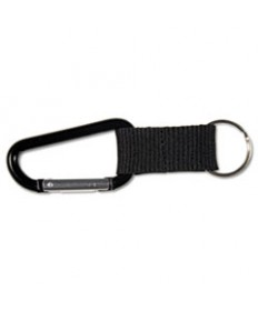 Carabiner Key Chains, Split Key Rings, Aluminum, Black, 10/pack