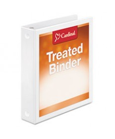 Treated Binder Clearvue Locking Slant-D Ring Binder, 4 Cap, 11 X 8 1/2, White