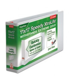 11 X 17 Speedy Xtralife Non-Stick Locking Slant-D Ring Binder, 3 Cap, White