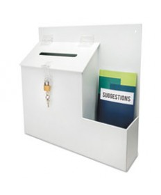SUGGESTION BOX LITERATURE HOLDER W/LOCKING TOP, 13 3/4 X 3 5/8 X 13, WHITE