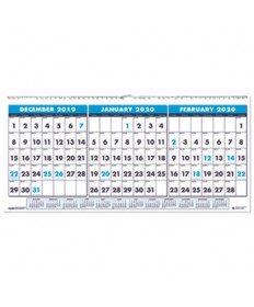 Recycled Three-Month Horizontal Wall Calendar, 23 1/2 x 12, 14-Month, 2019-2021