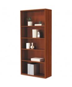 10700 Series Wood Bookcase, 5 Shelf/3 Adjust, 32 3/8 X 13 1/8 X 71, Cognac
