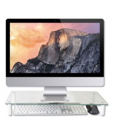 """GLASS MONITOR RISER, 22"""" X 8.25"""" X 3.25"""", CLEAR, SUPPORTS 40 LBS"""