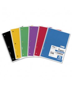 SPIRAL NOTEBOOK, 1 SUBJECT, WIDE/LEGAL RULE, ASSORTED COLOR COVERS, 10.5 X 7.5, 70 SHEETS