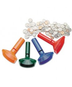 Color-Coded Coin Counting Tubes F/pennies Through Quarters