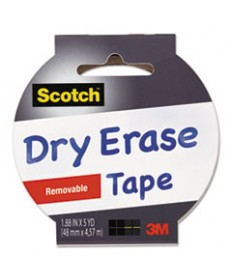 Dry Erase Tape, 1.88 X 5yds, 3 Core, White