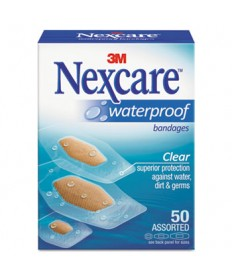 Waterproof, Clear Bandages, Assorted Sizes, 50/Box