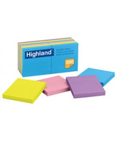 Self-Stick Notes, 3 X 3, Assorted Bright, 100-Sheet, 12/pack