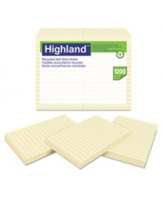 Recycled Self Stick Notes, 4 X 6, Yellow, 100 Sheets/pad, 12 Pads/pack