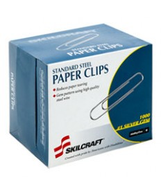 7510001614292, PAPER CLIPS, STEEL, SILVER, 1000/BOX