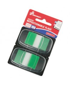 """7510013152020 SKILCRAFT PAGE FLAGS, 1"""" X 1 3/4"""", GREEN, 100/PACK"""