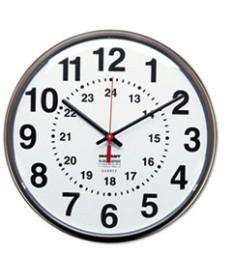 6645013428199, 12/24 HOUR SLIMLINE QUARTZ WALL CLOCK, 12 3/4, WHITE FACE, BROWN
