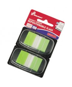 7510013991152, PAGE FLAGS, 1 X 1 3/4, BRIGHT GREEN, 100/PACK