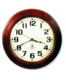 """6645014216904 SKILCRAFT MAHOGANY WALL CLOCK, 16"""" OVERALL DIAMETER, MAHOGANY CASE, 1 AA (SOLD SEPARATELY)"""