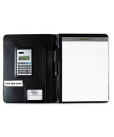 7510014844563, BLACK LEATHER LOOK PORTFOLIO, SOLAR CALCULATOR/WRITING PAD/PEN