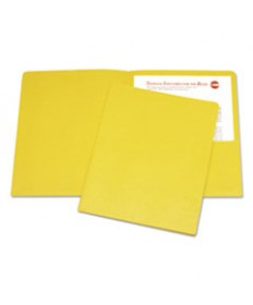 7510015122414, DOUBLE POCKET PORTFOLIO, LETTER SIZE, YELLOW, 25/BOX