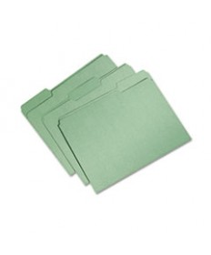 7530015664132 SKILCRAFTRECYCLED FILE FOLDERS, 1/3-CUT 1-PLY TABS, LETTER SIZE, BRIGHT GREEN, 100/BOX
