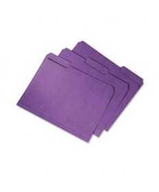 7530015664133 SKILCRAFT RECYCLED FILE FOLDERS, 1/3-CUT 2-PLY TABS, LETTER SIZE, PURPLE, 100/BOX