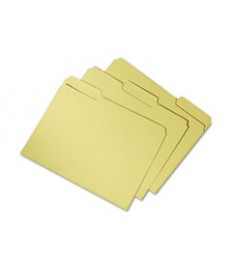 7530015664136, Recycled File Folders, 1/3 Cut Double Ply Letter, Yellow, 100/box