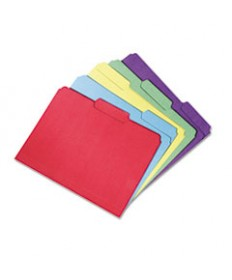 7530015664143 SKILCRAFTRECYCLED FILE FOLDERS, 1/3-CUT 2-PLY TABS, LETTER SIZE, ASSORTED, 100/BOX