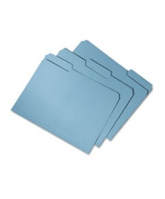 7530015664144, Recycled File Folders, 1/3 Cut Double Ply Letter, Blue, 100/box