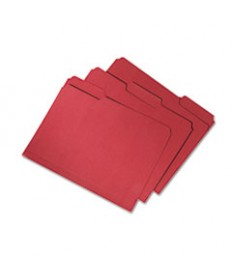 7530015664146, Recycled File Folders, 1/3 Cut, Double Ply, Letter, Red, 100/box