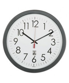 """6645016238823 SKILCRAFT SELF-SET WALL CLOCK, 14.5"""" OVERALL DIAMETER, BLACK CASE, 1 AA (SOLD SEPARATELY)"""